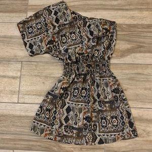 Off the Shoulder Tribal Print Dress